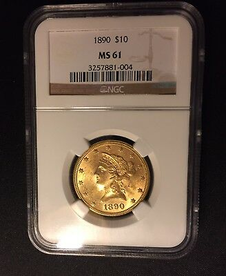 1890 $10 Liberty Head Gold Eagle Coin NGC MS 61