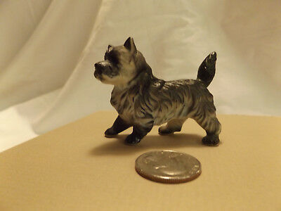 Bone China Miniature Dog  Figure NOT SURE OF BREED - LONG HAIR ceramic figurine
