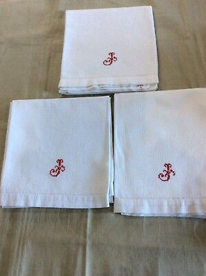 3 Vintage French Huckaback Towels