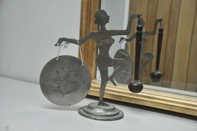 White metal  Indian ART DECO style LADY FIGURE dancing  holding a gong