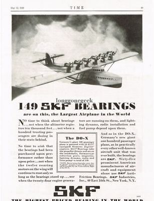 1930 SKF Bearings on German DO-X Largest Airplane In World  Vtg Print Ad