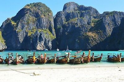 A2 Stunning Maya Bay, Thailand Beach Landscape Printed Canvas Wall Hanging