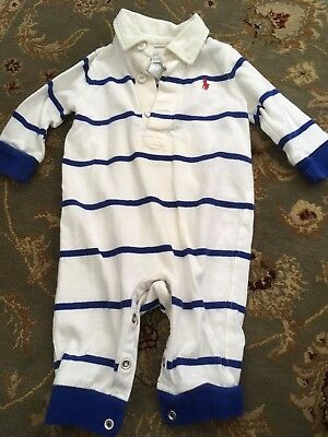 Baby Boy's RALPH LAUREN Blue/White Striped One-Piece - Size 3 Months