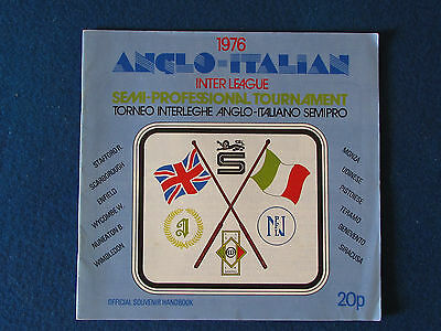 Anglo Italian Cup - Inter League - Semi Professional Tournament 1976 Programme