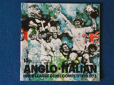 Anglo Italian Cup - Inter League Competition 1973 Programme