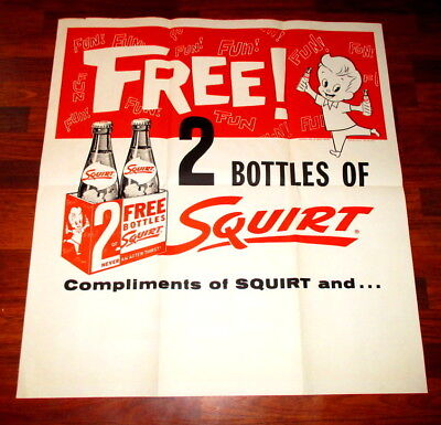 """1959 Large Size Free Squirt Poster or Sign-37"""" X 40"""""""