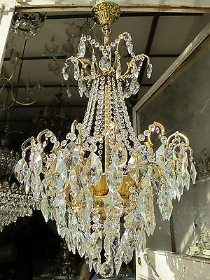 Antique Vnt French HUGE Spider Swarovski Crystal Chandelier 1940s 48cm diamter