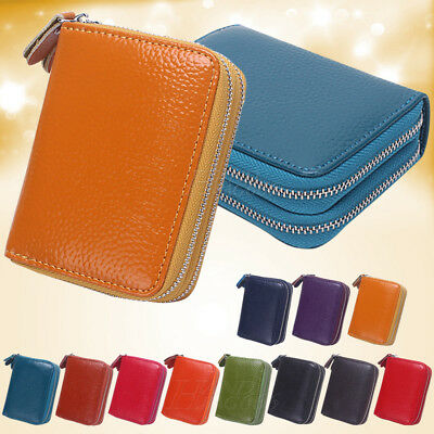 Ladies Womens Soft Leather Small Two Zip Coin Bag/Pouch/Wallet/Coin/Key Purse