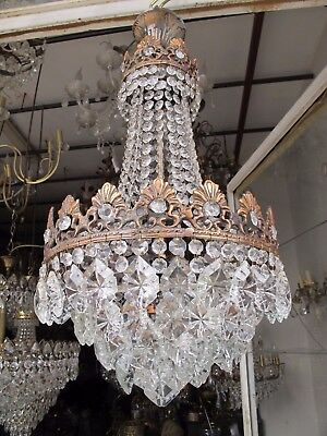 Antique French Basket Style Crystal Chandelier Lamp 1940s 12in diameter