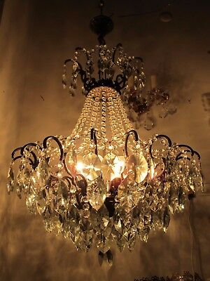 Antique French HUGE Spider Style Crystal Chandelier lamp Light 1940's 22in Ø dmt