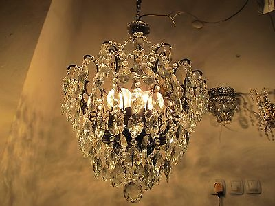Antique Vnt French Big Spider Style Crystal Chandelier Lamp 1940s 20in diameter""