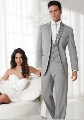 New Suits Tuxedo Bridegroom Gray Jacket Pants Tie Vest Customize Hot Sale L585