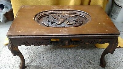 Vtg Antique old Carved Wood Mythical Love Bird 1930's Tray Top Coffee end Table