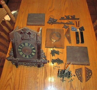 Antique German Railroad Cuckoo Clock Pieces for Parts or Repair