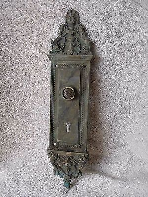 Antique Vintage Fabulous Ornate Victorian Solid Brass Door Plate late 1800's