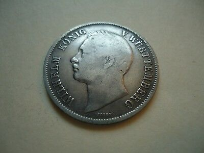 Wurttemberg  - 1843 Silver Gulden - Cleaned, re-toning