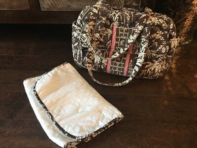 Vera Bradley Imperial ToileBABY BAG Change Pad Diaper Travel Tote Brown Pink