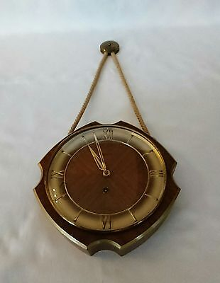 Vintage Wehrle German Wooden Nautical Wall Clock Art Deco with Key Working