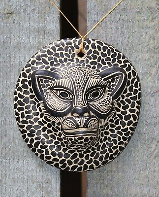 Small Clay Jaguar head Wall plaque Hand Made Maya Chiapas Mexico Folk Art Tribal