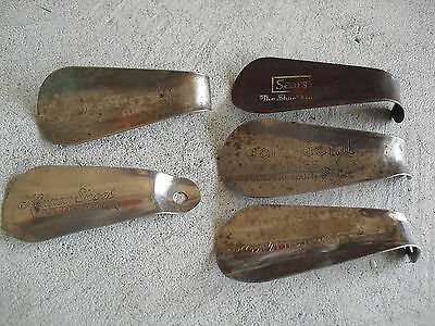 Lot of 5 Vintage Metal Plastic Advertising Shoe Horns Sears Pomeroy Kinney