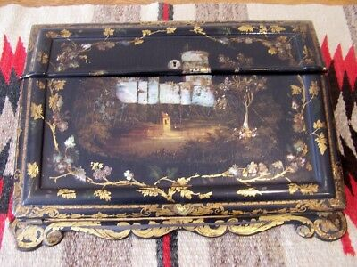 Antique 19th Century Paper Mache Gold & Mother of Pearl Inlaid Writing Desk Box