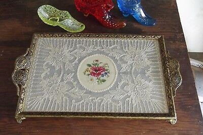 Antique English Art Nouveau Brass & Hand Made Lace Dresser Tray