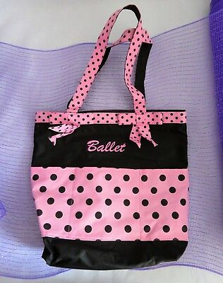 Girls Canvas Ballet Bag Black & Pink Polka Dots Bows Double Handle