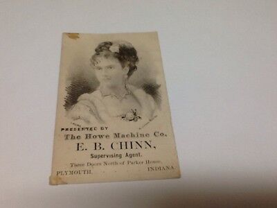 Vintage Trade Card Howe Sewing Machine Plymouth, Indiana