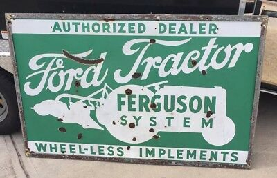 Vintage Double Sided Ford Tractor Dealer Service Porcelain Sign Gas Oil