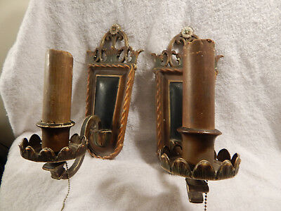 Vintage/Antique 1920'S Electric Wall Sconce Light Fixtures Set of 2