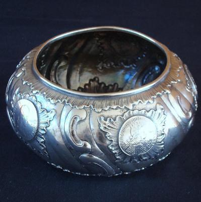 Heavy Solid Silver Center Bowl with Six 17th & 18th Century Inset Coins Dresden