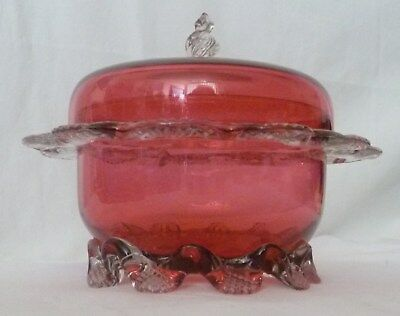 Antique Cranberry Glass Covered Candy Dish with Clear Applications