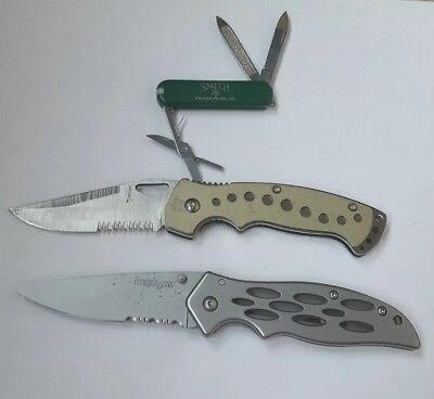 Auction SA13 Lot of 3 Assorted pocket knives swis army kershaw tomahawk