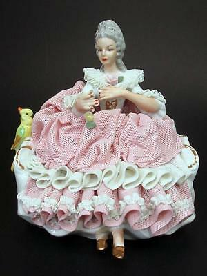 """Dresden Lace 5½"""" Figurine Sitting with Parrot Sandizell Germany c1950's"""