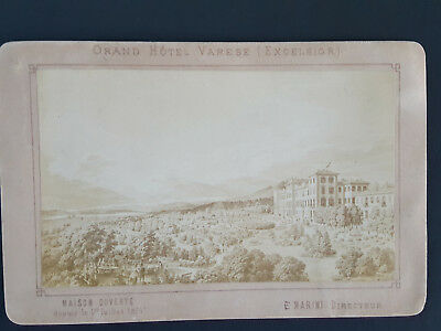 1874 Photo Trade Card Grand Hotel Varese Excelsior Cabinet Card Italy RARE Nice!