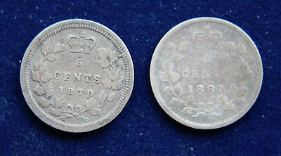 Canada 1870 & 1887 Victoria Sterling Silver Five Cents Lot of Two
