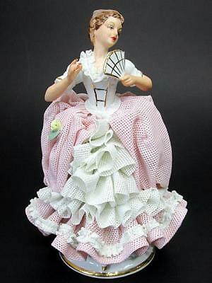 """Dresden Lace 5½"""" Figurine Standing with Fan Sandizell Germany c1950's"""