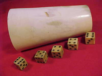 Antique American Western Bone Dice Set Cow Horn Cup Hand Carved Bovine Buffalo