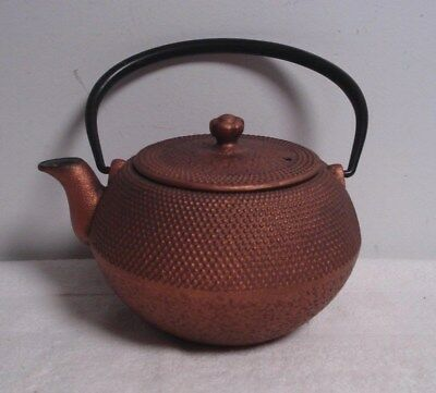 Japanese Cast Iron TeaPot Kettle Infuser Cherry Blossom copper color hobnail