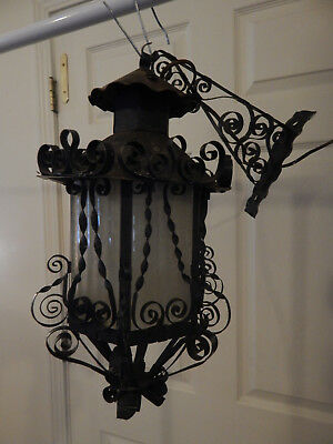 Vintage Scroll Wrought Iron Black Metal Outdoor Porch Light Fixture