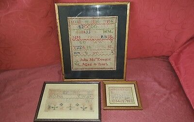 Three Framed Antique Victorian Samplers