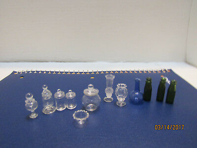Dollhouse Miniature Shadowbox Lot Of Glass Items And 1 Chrysbon Vase Used G 2248