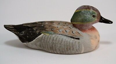 Miniature Carved Wooden Green Wing Teal Duck Signed Decoy Hand Painted