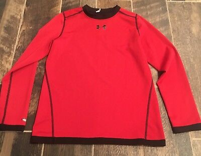 Under Armour Boys Logo Shirt Top Long Sleeve Black Red YLg LArge L Reversible
