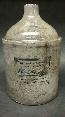 ANTIQUE STONEWARE HOLBERG ADVERTISING 2 GALLON WHISKEY JUG MOBILE AL. Pre Pro