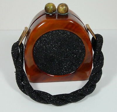 Vintage Lucite Purse with Beaded Handle and Circular inset - Bakelite Clasp