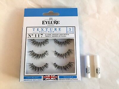 cfd9e476fae EYLURE LONDON TEXTURE Multi Pack 3 pairs No.117 + 2 adhesive 0.03fl ...