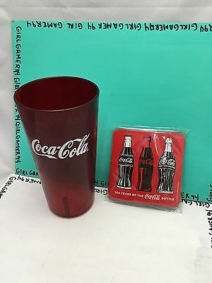 Coca-Cola - Coke - Restaurant Red Plastic Tumblers Cup + 2 New Cork Coasters