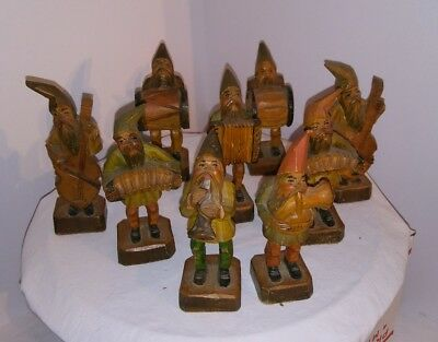 Hand Carved Gnome/Troll Musical Band Folk Art Figure (Set of 9)