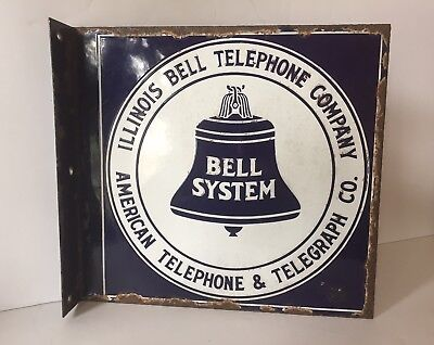 Illinois Telephone Company/ AT&T Co. Porcelain Flange Sign